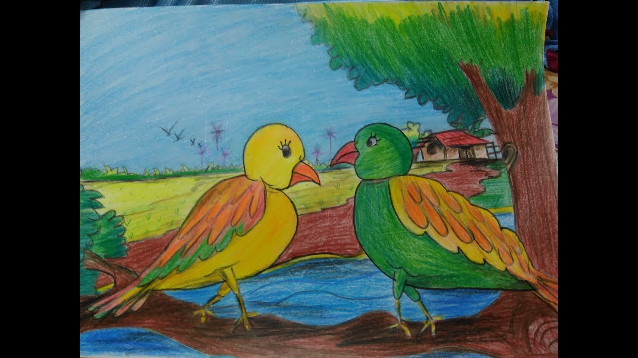 How to draw bird with nature love birds village langscape step by step landscapeparrot draw