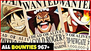 All Bounties Updated To Chapter 967+ in ONE PIECE