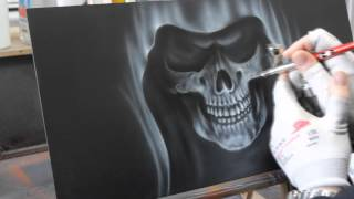 Airbrush Videoanleitung Sensenmann in Flammen - Grim Reaper in Flames Paint Howto Tutorial