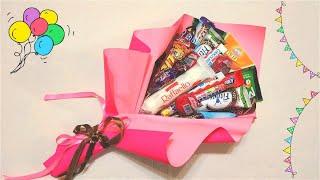Букет из сладостей, батончиков, сырков, конфет. Подарок ручной работы!