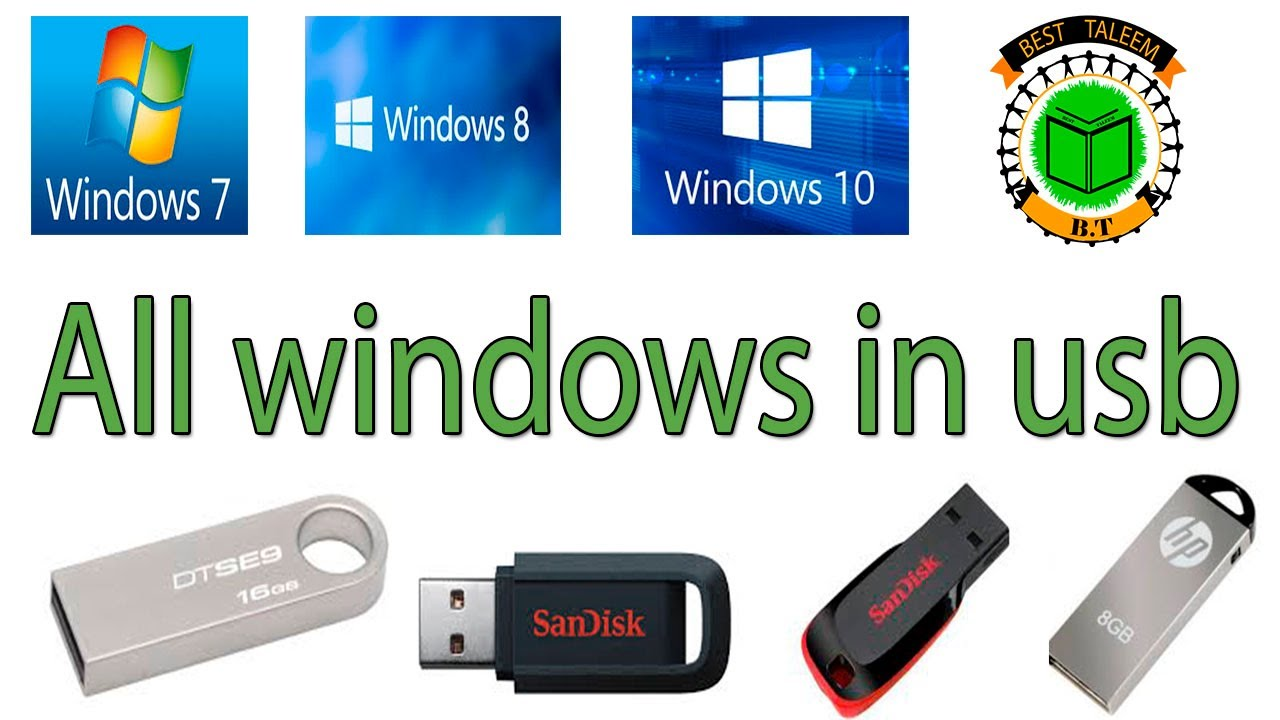 How To Make Window 7 8 10 In Usb Create A Bootable Usb Drive By Best Taleem Youtube