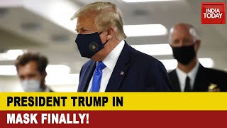 US President Donald Trump Wears Face Mask In Public For First Time