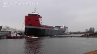 Grootste schip ooit te water gelaten bij Koninklijke Niestern Sander in Delfzijl