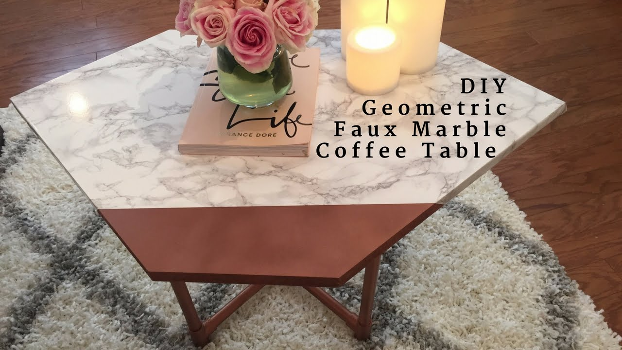 DIY Geometric U0026 Faux Marble Coffee Table