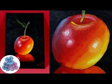 Pintura al oleo como pintar cerezas diy cherry oil painting pintar cuadros modernos pintura - Como pintar cuadros faciles ...