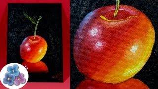 Pintura al Oleo Como Pintar Cerezas DIY *Cherry Oil Painting* Pintar Cuadros Modernos Pintura Facil