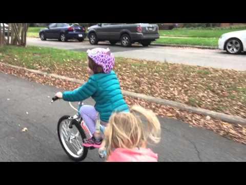 Hanna riding her new bike