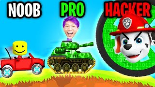 Can We Go NOOB vs PRO vs HACKER In HILL CLIMB RACING!? (MAX LEVEL ROCKET!!)