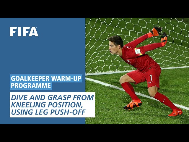 Dive and grasp from kneeling position, using leg push-off [Goalkeeper Warm-Up Programme]