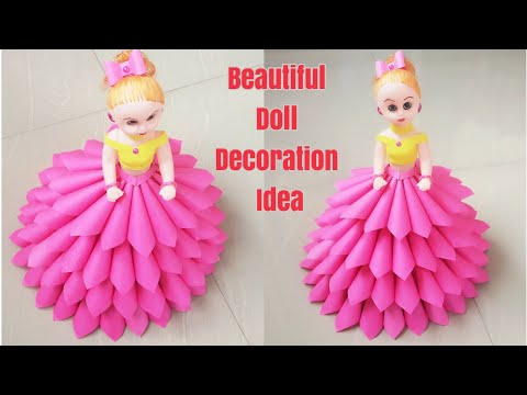 How to Decorate Doll using Paper/ DIY Paper Dress For Doll/ Doll Decoration Idea