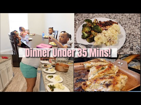 Dinner Under 35 Mins! | Lemon & Garlic- Butter Chicken With Roasted Broccoli  & Mashed Potatoes