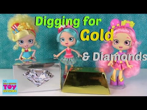 Gold & Diamond Surprise Dig It Digging With Shopkins Shoppies Dolls | PSToyReviews