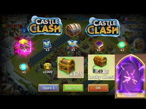 Castle Clash : 49 Lucky Chest 125 Fortress Feud Chest And 10K Gem Rolling
