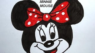 How to draw MINNIE MOUSE, learn how to draw for kids, free art lessons, video diy