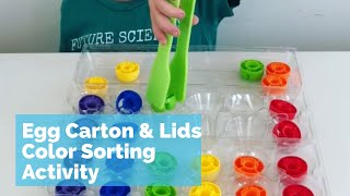 Sorting with Lids, Egg Carton and Tongs - fun toddler and preschool activity