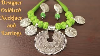 #Durga Puja 2: Designer Oxidised Necklace and Earring Making Tutorial    Ananya Mondal