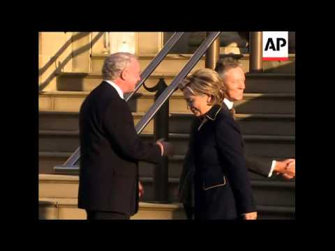 US Secretary of State arrives for talks; motorcade