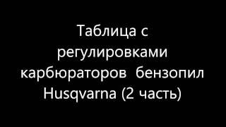 Налаштування (заводські) карбюраторів Husqvarna