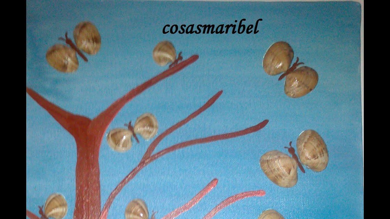 Como pintar un cuadro de mariposas hechas con almejas - Como hacer conchas finas ...