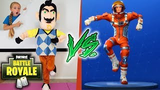 HELLO NEIGHBOR IN REAL LIFE vs Us in FORTNITE DANCES IN REAL LIFE CHALLENGE!!!