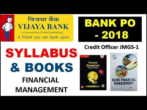 Vijaya Bank Direct Recruitment PO  (Credit Officer) || Financial Management Syllabus & Book