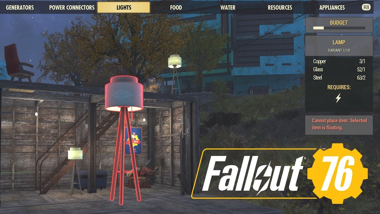 Fallout 76 How To Run Wires Through Walls: Fallout 76 Electricity Guide Camp Settlement; Building Lights Power rh:youtube.com,Design