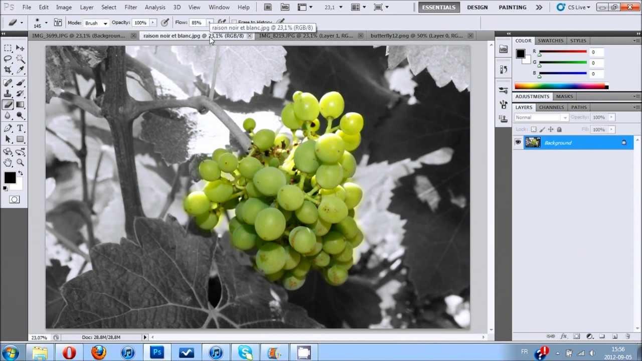 photo noir et blanc sur cv