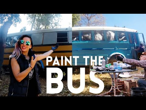 #83 SKOOLIE BUS CONVERSION | How We Painted the Exterior of our 36 foot School Bus