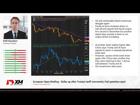 Forex News: 27/11/2018 - Dollar up after Trump's tariff comments; Fed speeches eyed