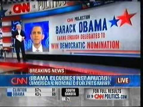 Barack Obama wins the Democratic presidential nomination!
