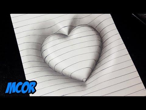 Como Dibujar Un Corazon En 3d Con Lineas Dibujos 3d Faciles