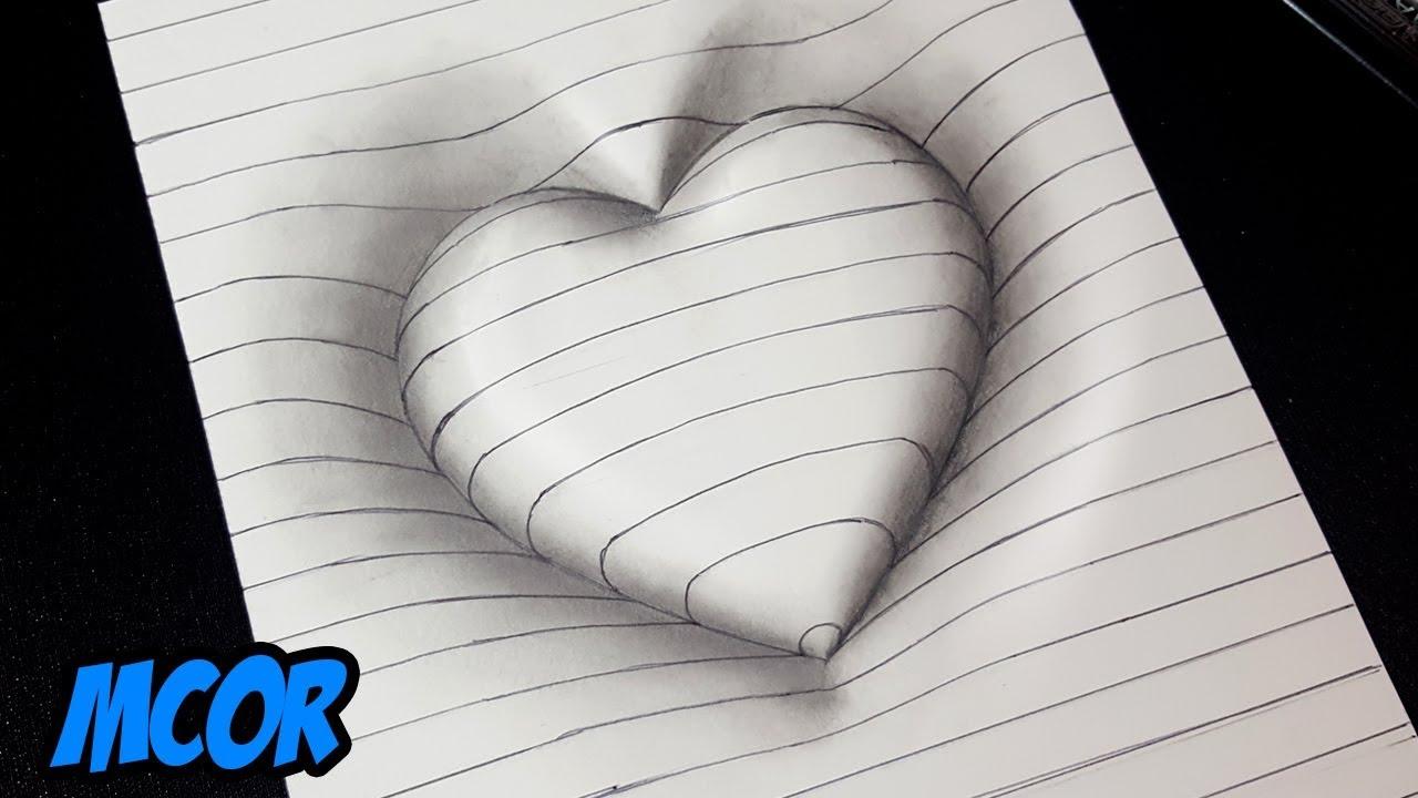 Imagenes De Amor Con Efectos: Como Dibujar Un Corazón En 3D Con Lineas