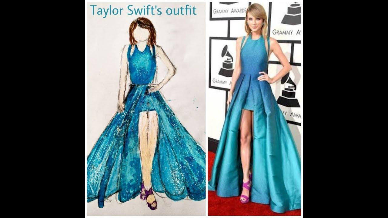 Taylor Swift\'s Grammy award blue dress sketch - YouTube