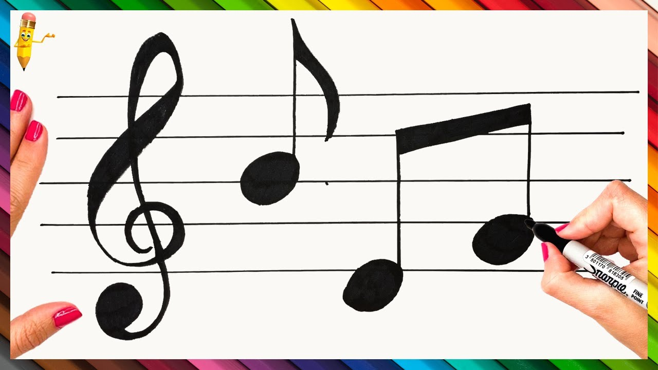 How To Draw Musical Notes Step By Step Musical Notes Drawing Easy Youtube