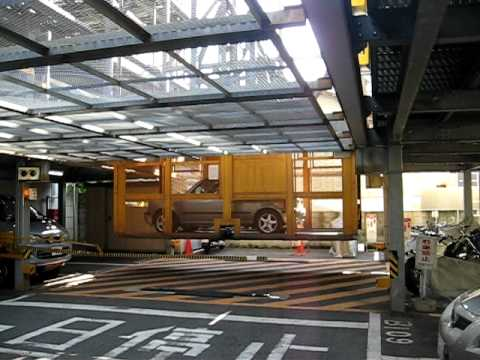 Parking with elevator for cars in Kyoto, Japan