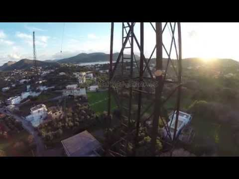 The antennas of the old Italian radio from the war  - Leros Island - Greece. Aerial Video