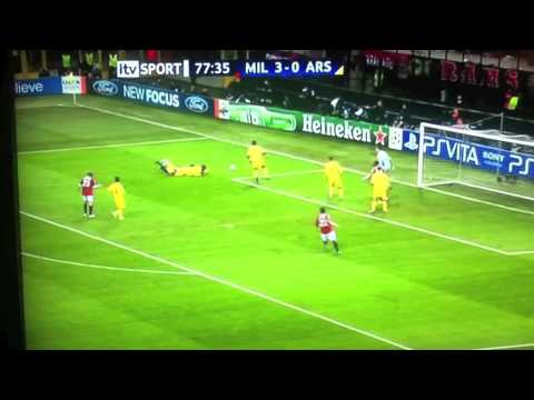 AC Milan vs Arsenal 4-0   15/02/2012   Boateng Robinho Ibrahimovic Goals
