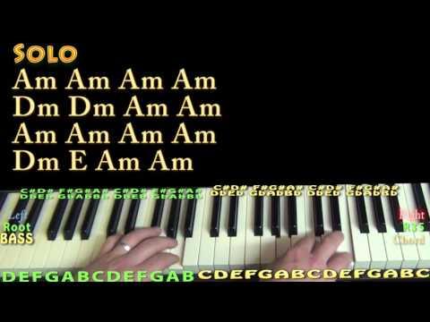 Wayfaring Stranger (Johnny Cash) Piano Lesson Chord Chart