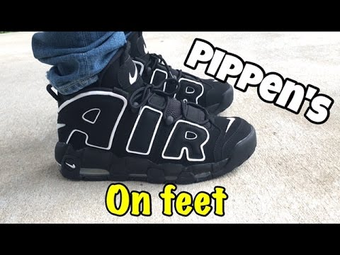 ... nike air more uptempo pippen on feet youtube