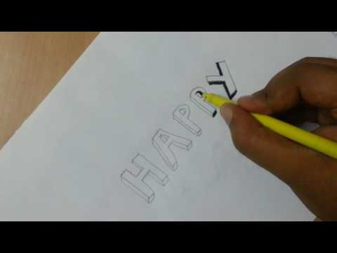 How to write HAPPY in 3D letters, calligraphy for kids, beginners