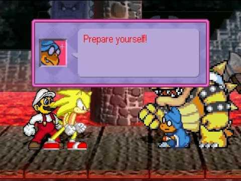 Super Sonic(Me) and Super Fire Mario vs Kamek and Bowser M.U.G.E.N Battle