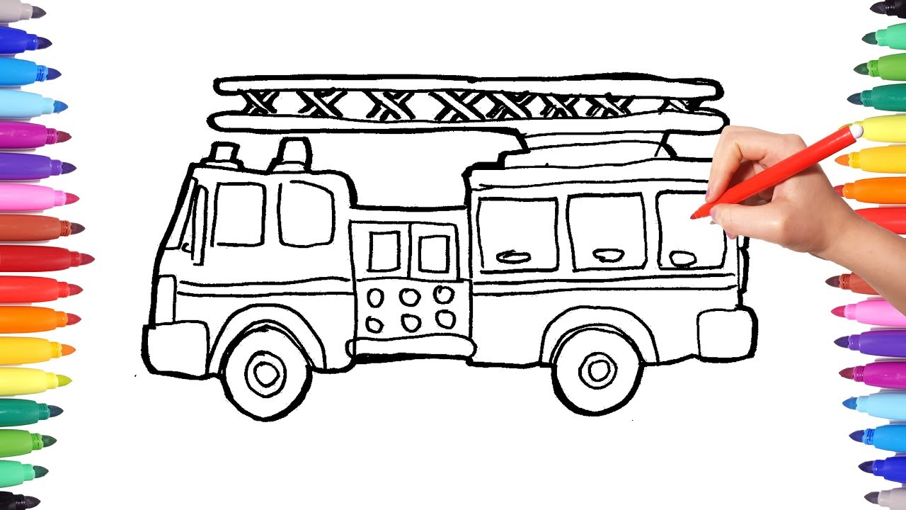 It is a graphic of Fan Fire Engine Drawing