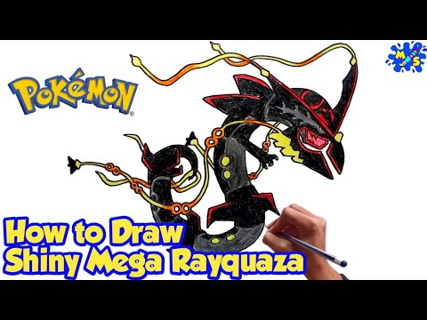 How to Draw Shiny Mega Rayquaza | Pokemon | Step by step Drawing tutorial