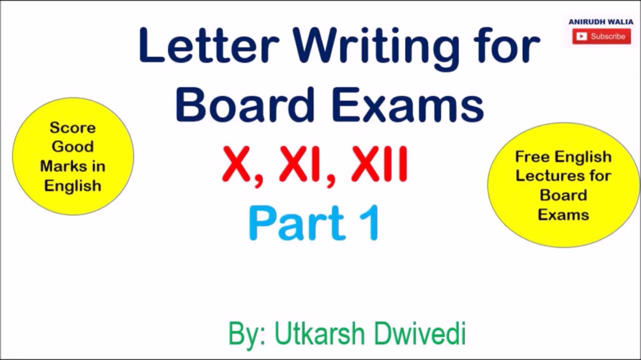 English Lectures For Board Exams Letter Writing Formal Letters