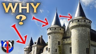 Why do medieval CASTLE roofs flare outwards?
