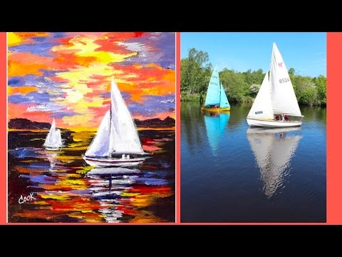 How to Paint Sailboats in the Sunset a Step by Step Video Tutorial for Beginners