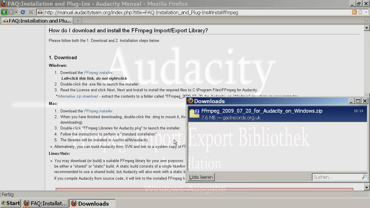 ffmpeg pour audacity