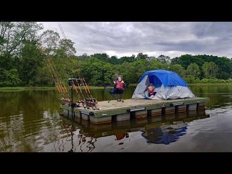 Catfishing & Camping On Floating Fishing Dock - Cheap Fishing Boat