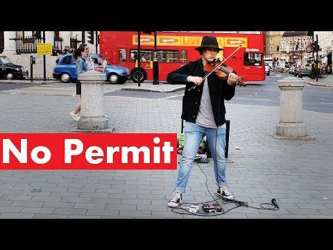 "Australian Violinist ""No Permit"" Killing it at Trafalgar Square in London"