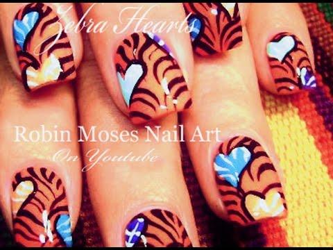 Valentine39s Day Nail Art Design Zebra Print With Hearts